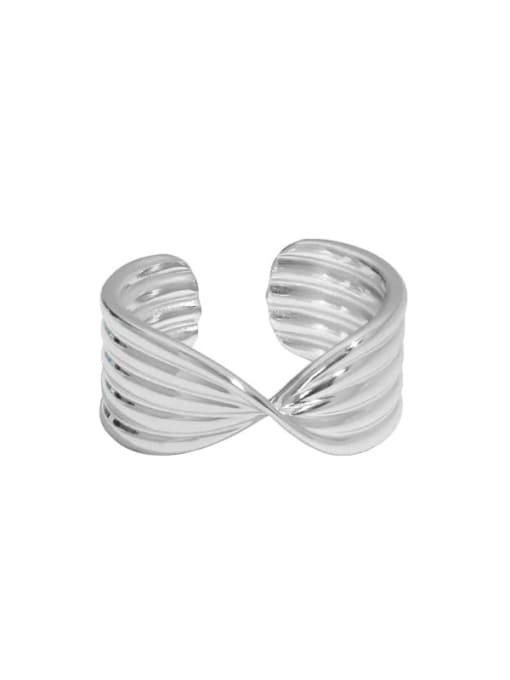 Platinum [14 adjustable] 925 Sterling Silver Irregular Vintage X-shaped button pattern Band Ring
